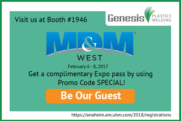Get 20% off conference pass or a free Expo pass to MD&M West 2018 from Genesis Plastics Welding